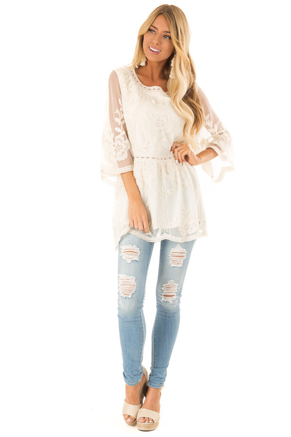 Cream Floral Lace Tunic Top with Sheer 3/4 Sleeves front full body