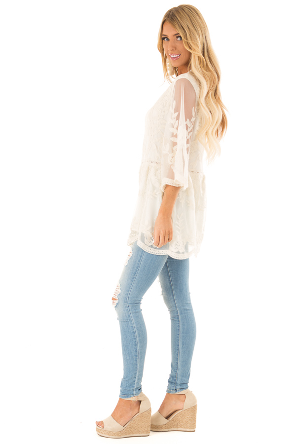 Cream Floral Lace Tunic Top with Sheer 3/4 Sleeves side full body