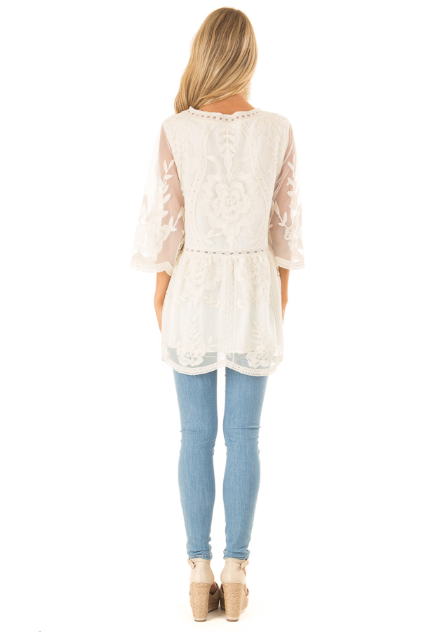 Cream Floral Lace Tunic Top with Sheer 3/4 Sleeves back full body