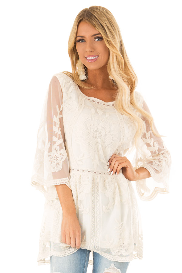 411b7e8fc48 Cream Floral Lace Tunic Top with Sheer 3/4 Sleeves - Lime Lush Boutique