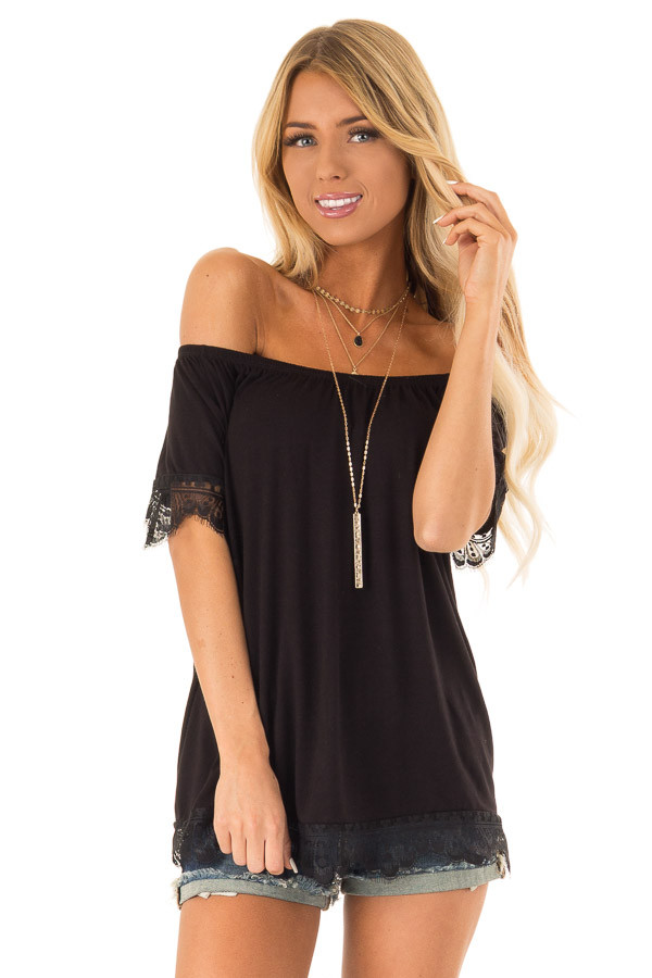 Ink Black Off the Shoulder Top with Scalloped Lace Trim front close up