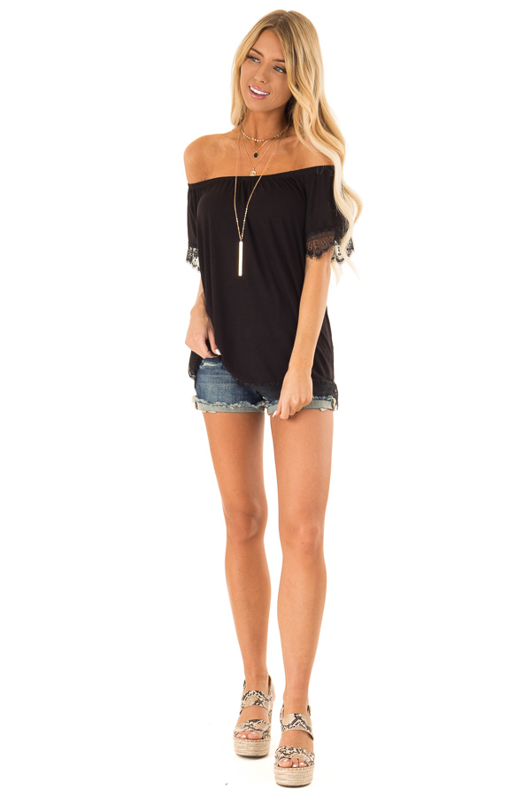 Ink Black Off the Shoulder Top with Scalloped Lace Trim front full body