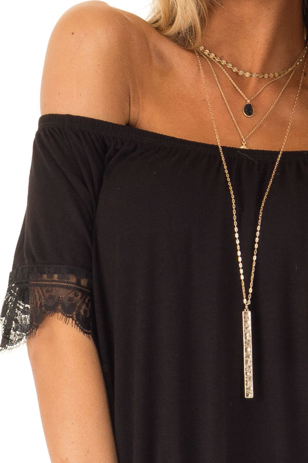 Ink Black Off the Shoulder Top with Scalloped Lace Trim detail