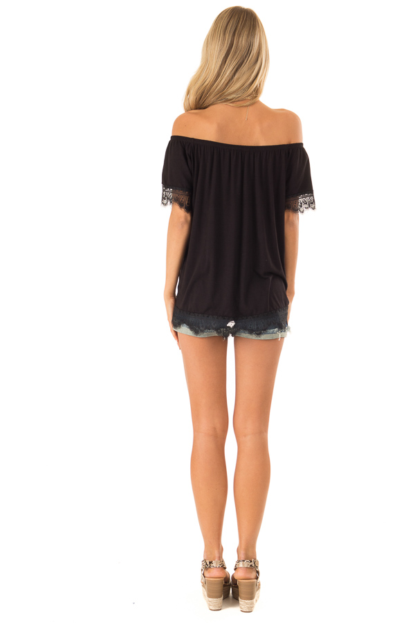 Ink Black Off the Shoulder Top with Scalloped Lace Trim back full body