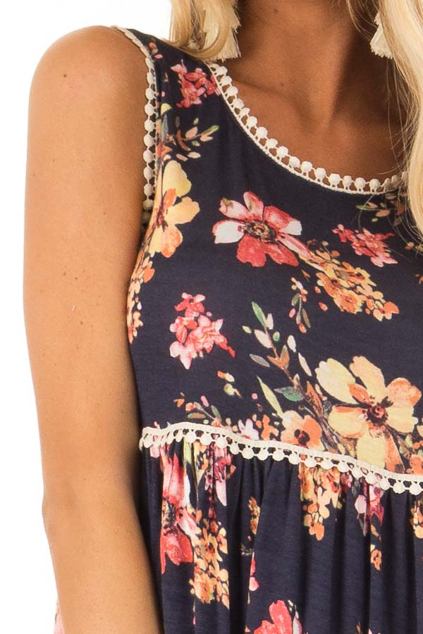 Navy and Floral Sleeveless Babydoll Top with Crochet Trim detail