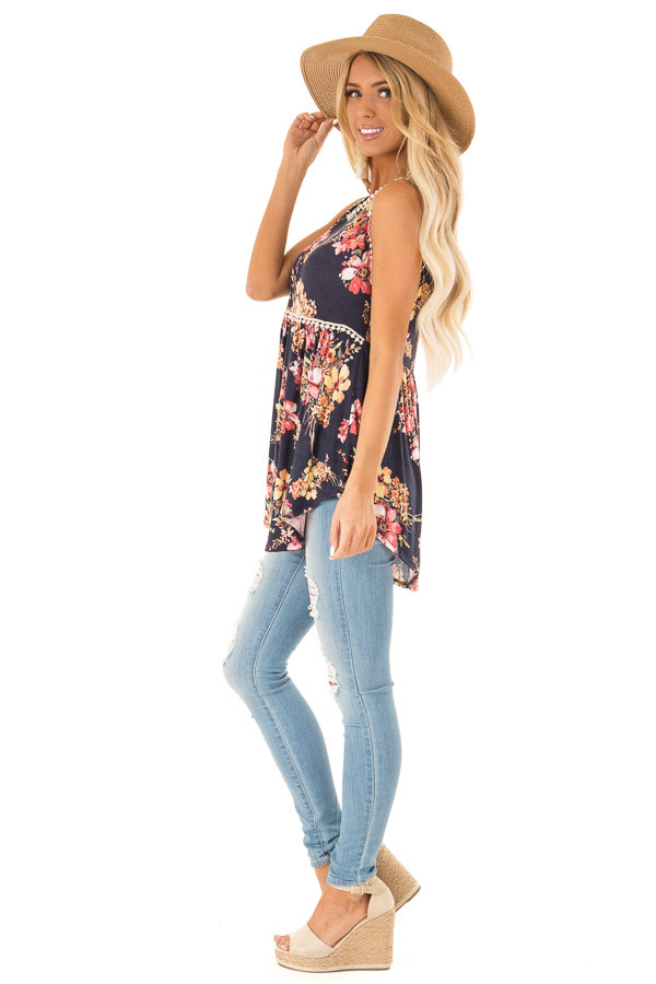 Navy and Floral Sleeveless Babydoll Top with Crochet Trim side full body