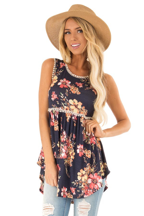 Navy and Floral Sleeveless Babydoll Top with Crochet Trim front close up