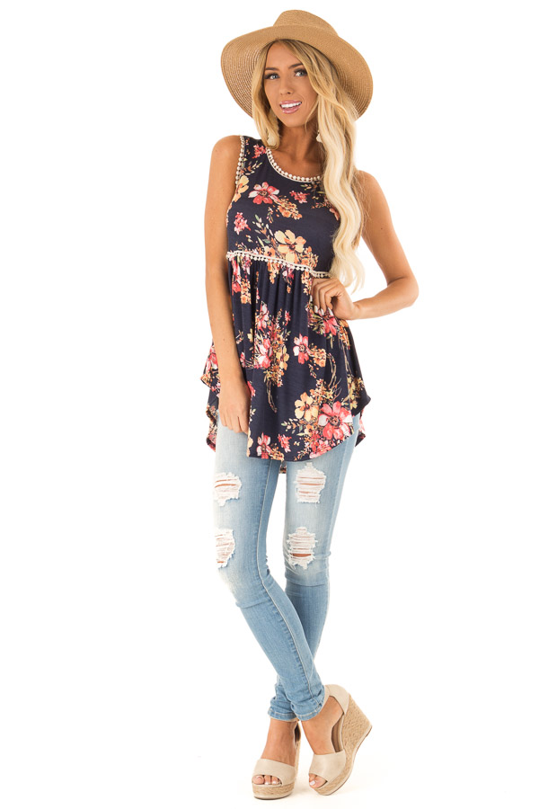 Navy and Floral Sleeveless Babydoll Top with Crochet Trim front full body