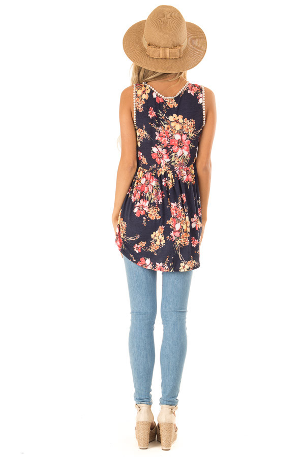 Navy and Floral Sleeveless Babydoll Top with Crochet Trim back full body