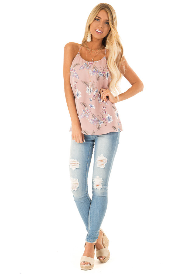 Faded Mauve Floral Print Racerback Tank Top front full body