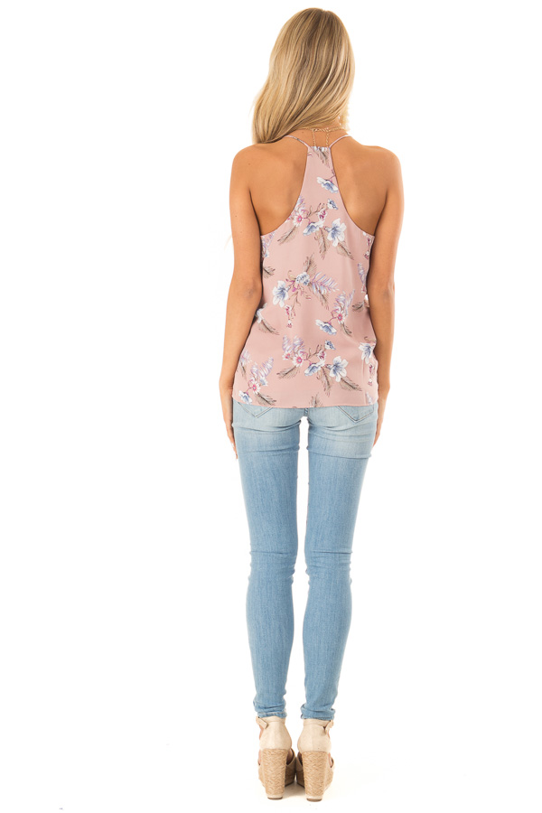 Faded Mauve Floral Print Racerback Tank Top back full body