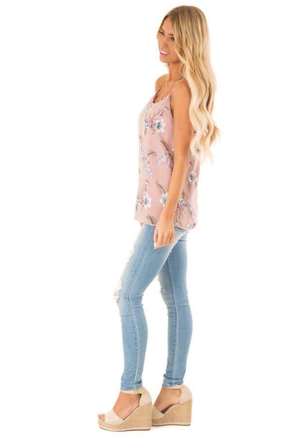Faded Mauve Floral Print Racerback Tank Top side full body