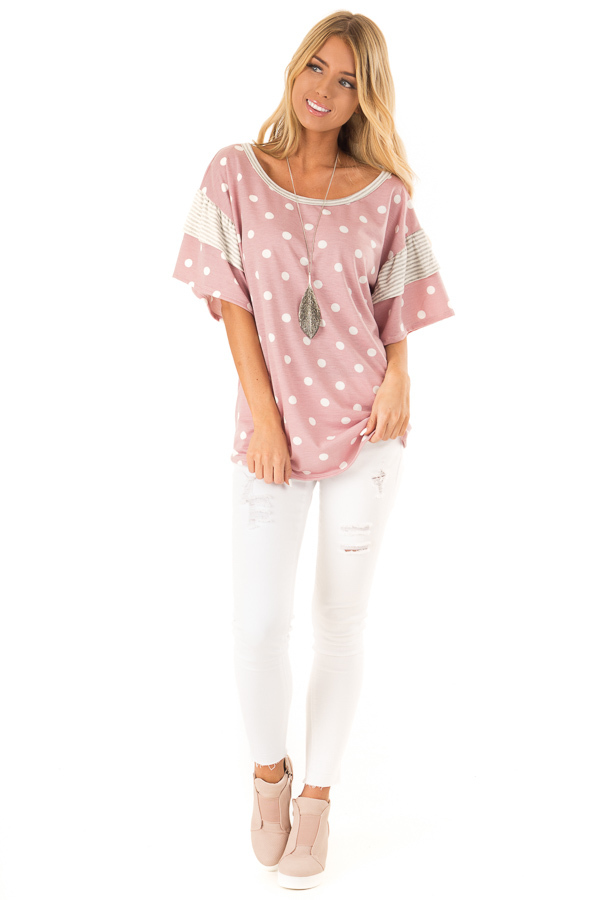 Light Mauve Polka Dot Top with Pinstripe Ruffle Detail front full body