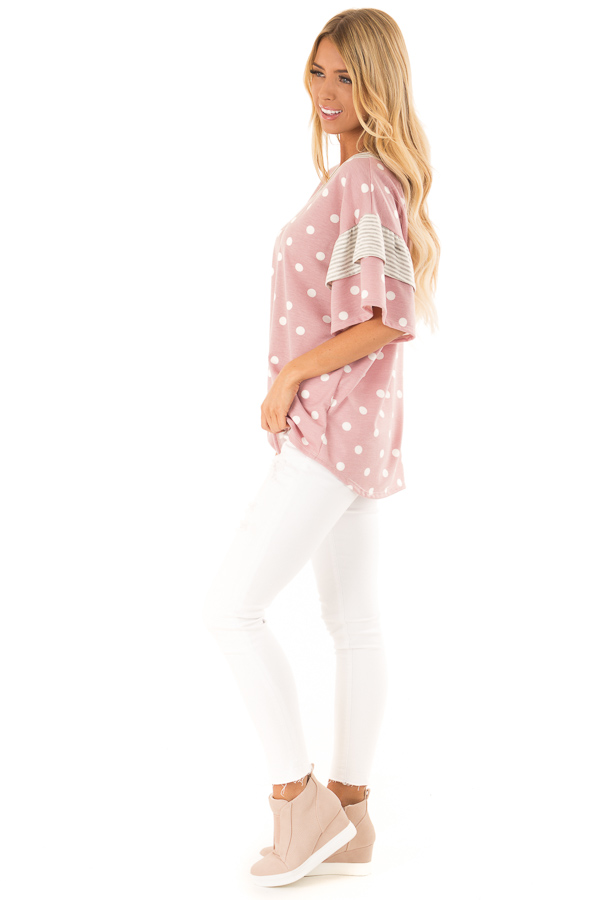 Light Mauve Polka Dot Top with Pinstripe Ruffle Detail side full body