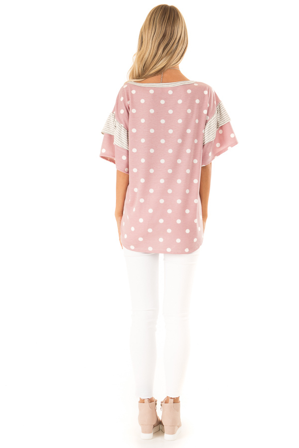 Light Mauve Polka Dot Top with Pinstripe Ruffle Detail back full body