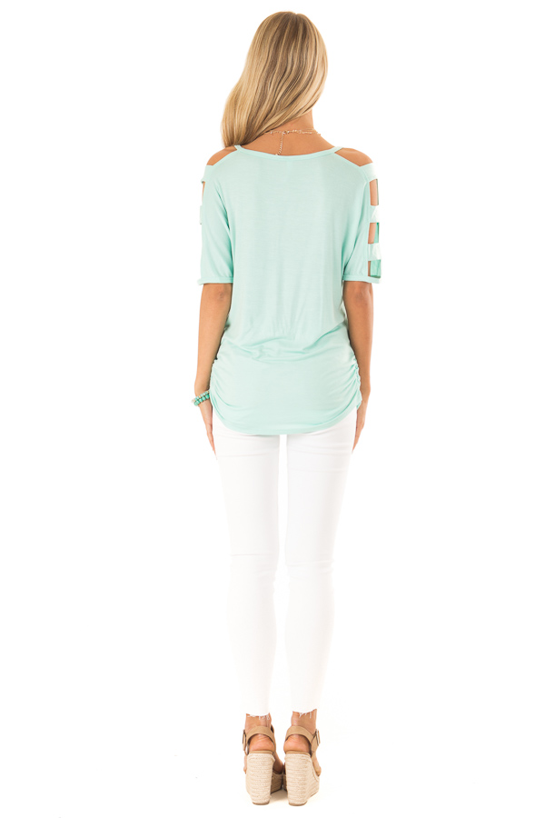 Mint 3/4 Ladder Cut Out Sleeves Top with Ruched Sides back full body