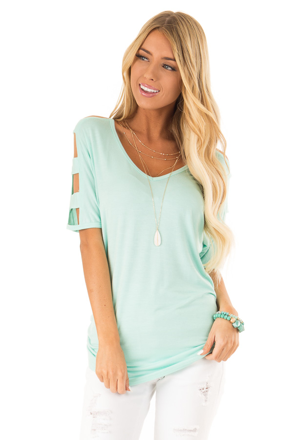 Mint 3/4 Ladder Cut Out Sleeves Top with Ruched Sides front close up