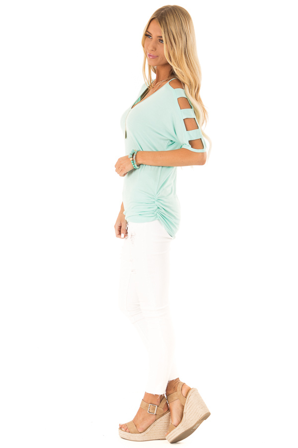 Mint 3/4 Ladder Cut Out Sleeves Top with Ruched Sides side full body