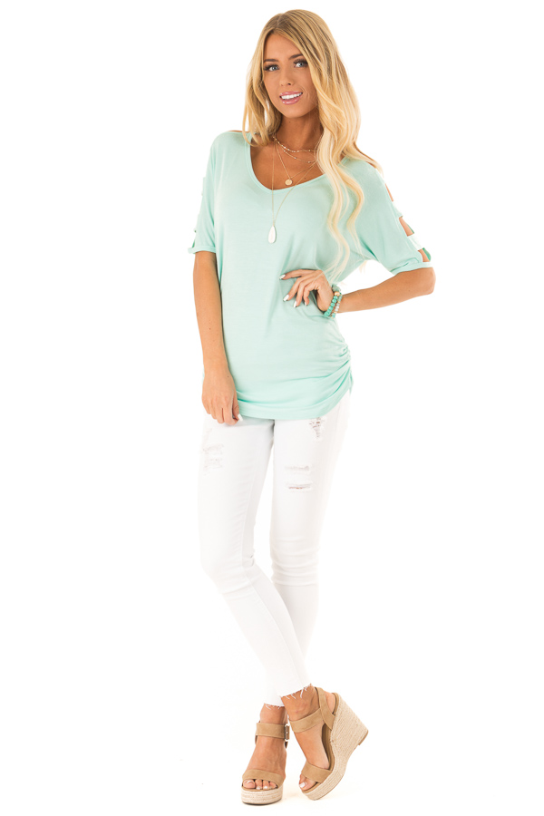 Mint 3/4 Ladder Cut Out Sleeves Top with Ruched Sides front full body