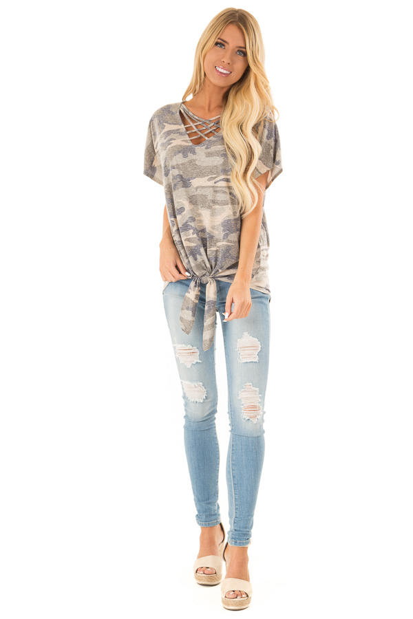 Faded Olive Camo Print Top with Front Criss Cross and Tie front full body