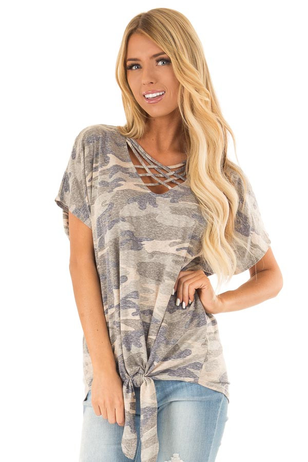 Faded Olive Camo Print Top with Front Criss Cross and Tie front close up