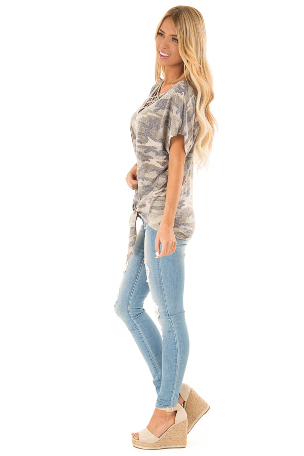 Faded Olive Camo Print Top with Front Criss Cross and Tie side full body