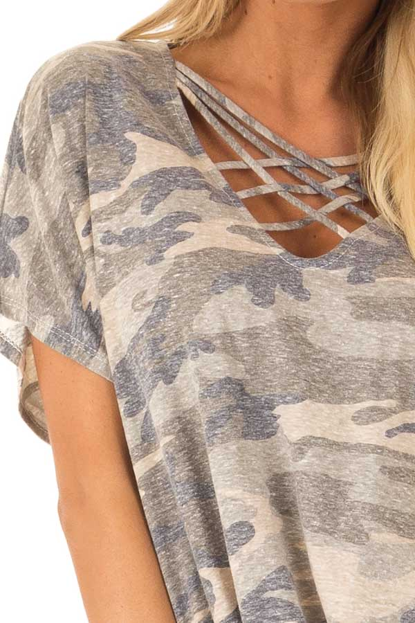 Faded Olive Camo Print Top with Front Criss Cross and Tie detail