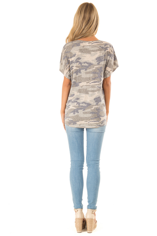 Faded Olive Camo Print Top with Front Criss Cross and Tie back full body