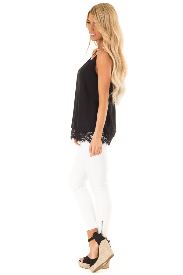 Black Tank Top with Lace Detail on Neckline and Hem side full body