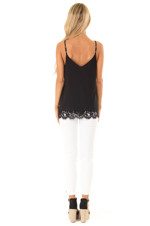 Black Tank Top with Lace Detail on Neckline and Hem back full body