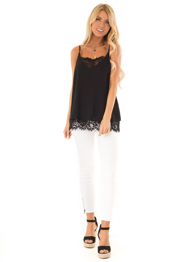 Black Tank Top with Lace Detail on Neckline and Hem front full body