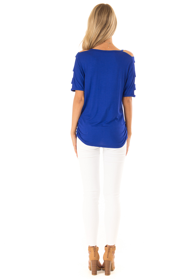 Cobalt 3/4 Ladder Cut Out Sleeves Top with Ruched Sides back full body