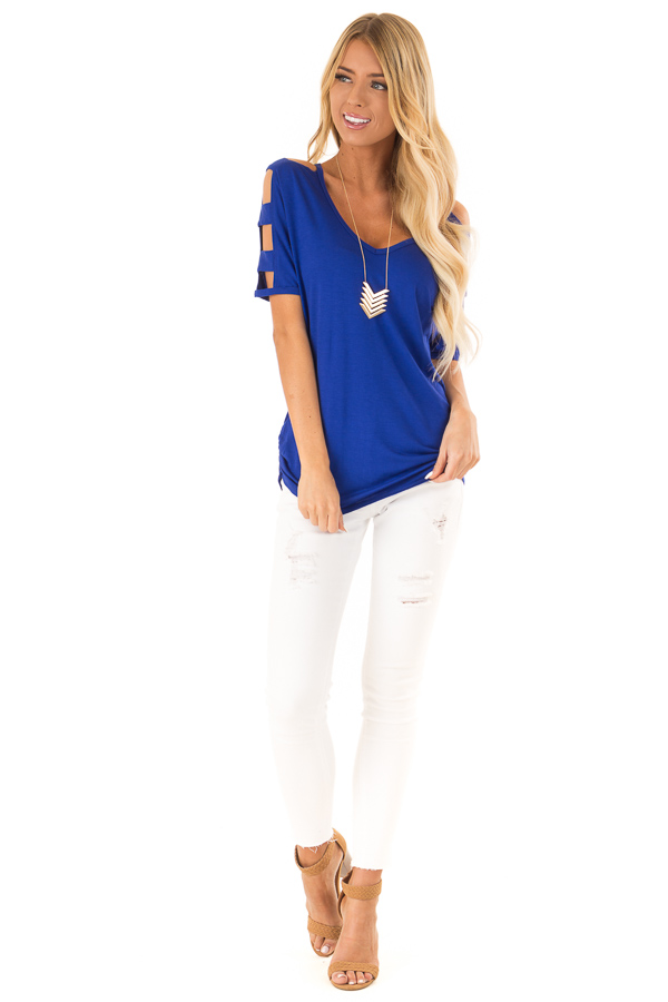 Cobalt 3/4 Ladder Cut Out Sleeves Top with Ruched Sides front full body