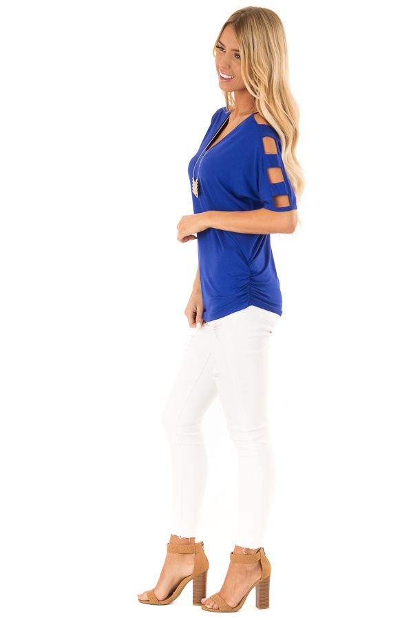 Cobalt 3/4 Ladder Cut Out Sleeves Top with Ruched Sides side full body