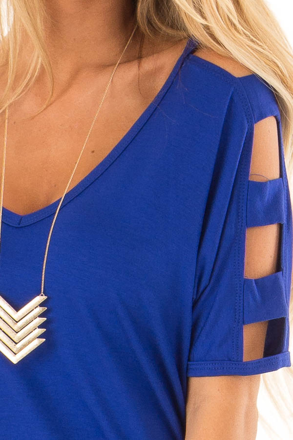 Cobalt 3/4 Ladder Cut Out Sleeves Top with Ruched Sides detail