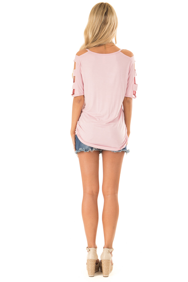 Blush 3/4 Ladder Cut Out Sleeves Top with Ruched Sides back full body