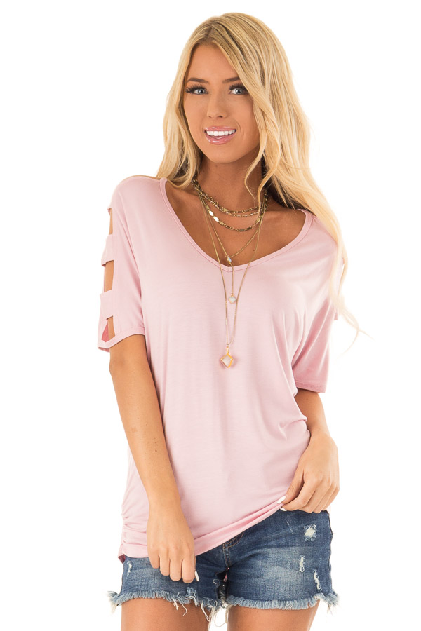 Blush 3/4 Ladder Cut Out Sleeves Top with Ruched Sides front close up
