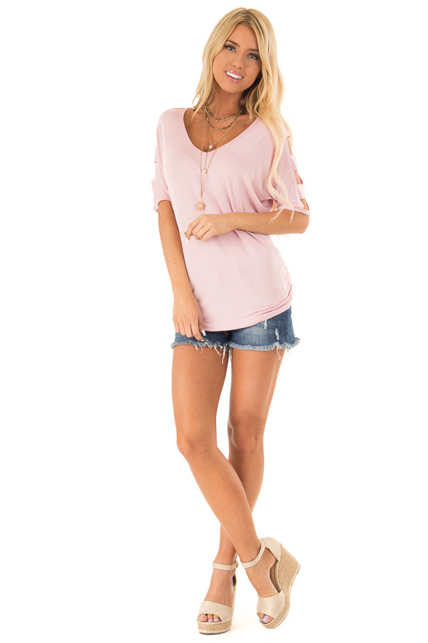 Blush 3/4 Ladder Cut Out Sleeves Top with Ruched Sides front full body