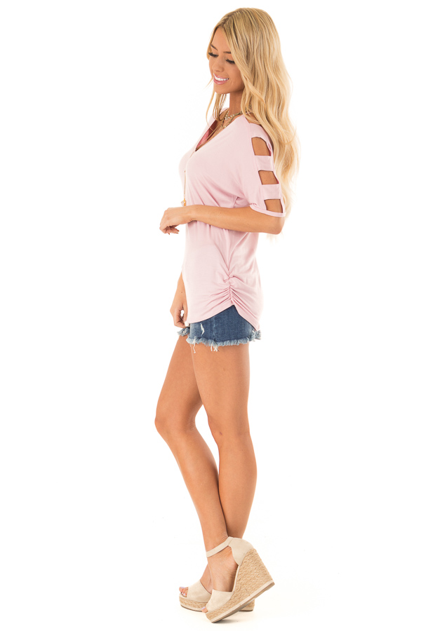 Blush 3/4 Ladder Cut Out Sleeves Top with Ruched Sides side full body