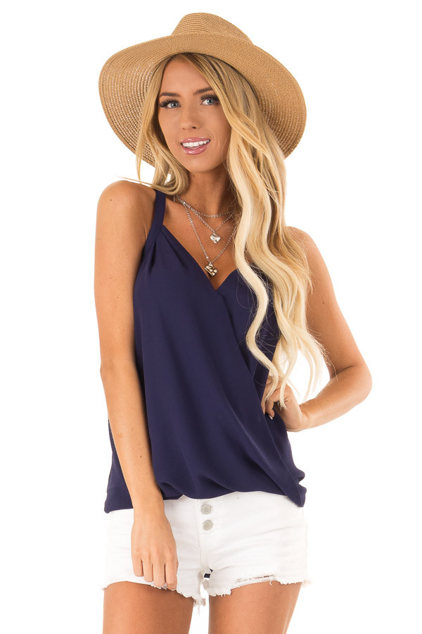 Midnight Blue Crossover Bubble Hem Tank Top front close up