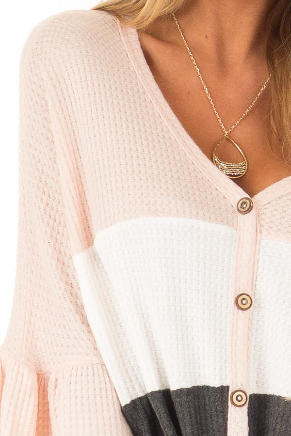 Baby Pink Color Block Waffle Knit Button Up Top detail