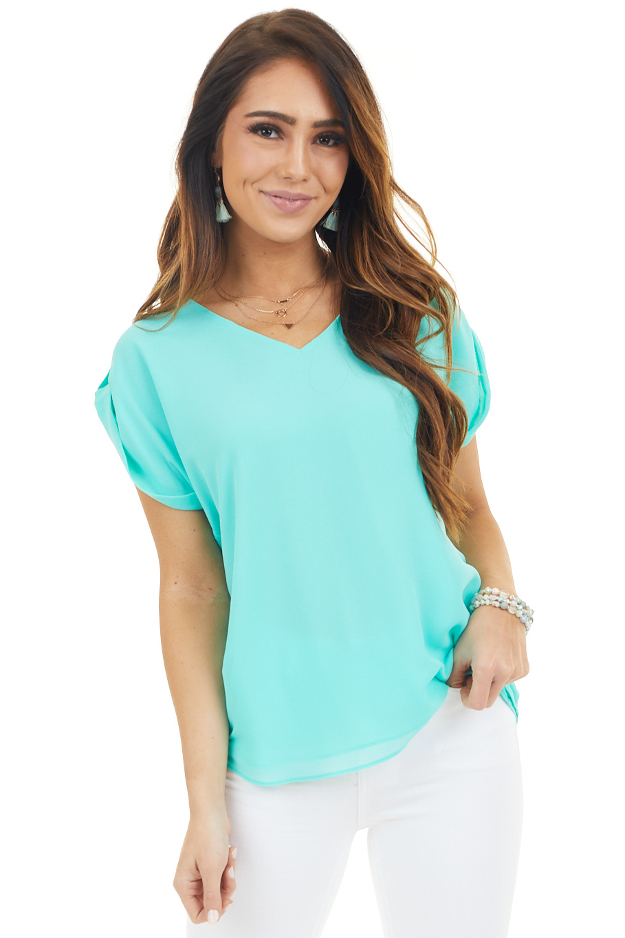 Seafoam Green Short Sleeve Chiffon Top