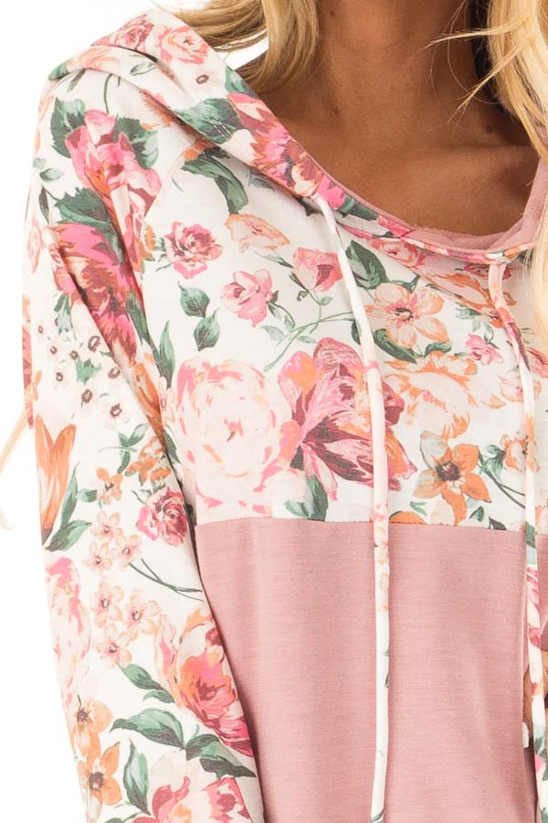 Dusty Rose and Floral Hooded Sweatshirt with Banded Hemline detail