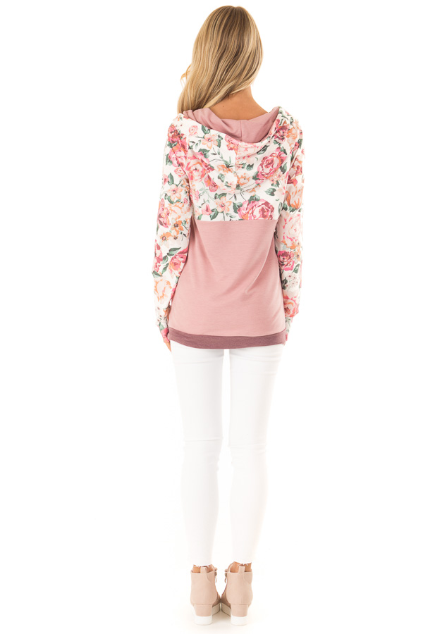 Dusty Rose and Floral Hooded Sweatshirt with Banded Hemline back full body