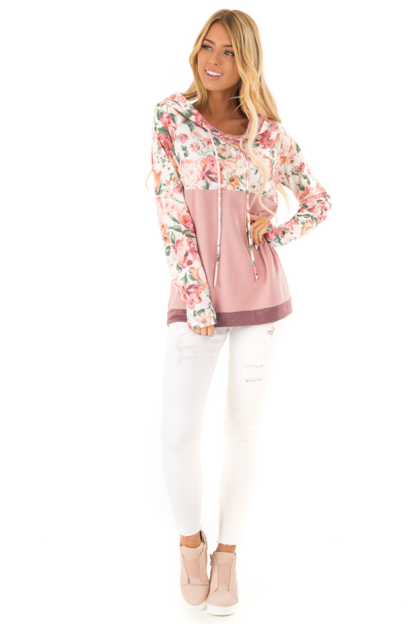 Dusty Rose and Floral Hooded Sweatshirt with Banded Hemline front full body