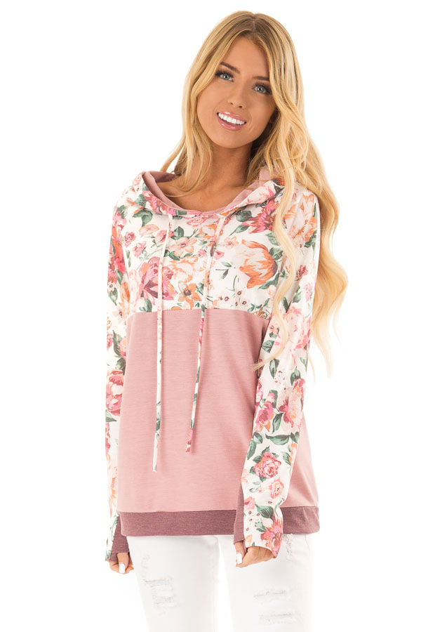 Dusty Rose and Floral Hooded Sweatshirt with Banded Hemline front close up