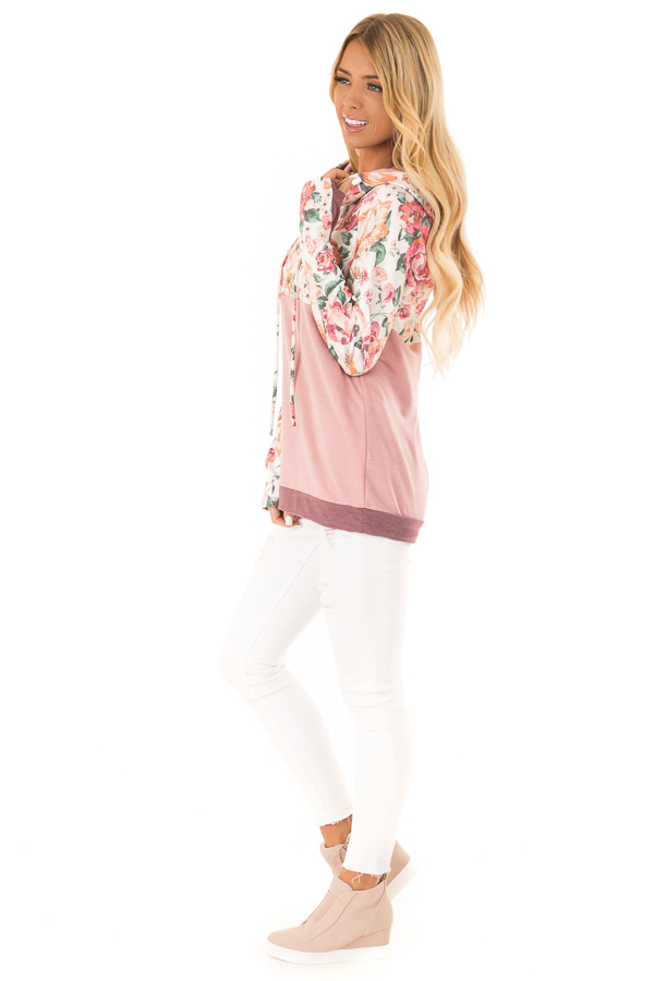 Dusty Rose and Floral Hooded Sweatshirt with Banded Hemline side full body