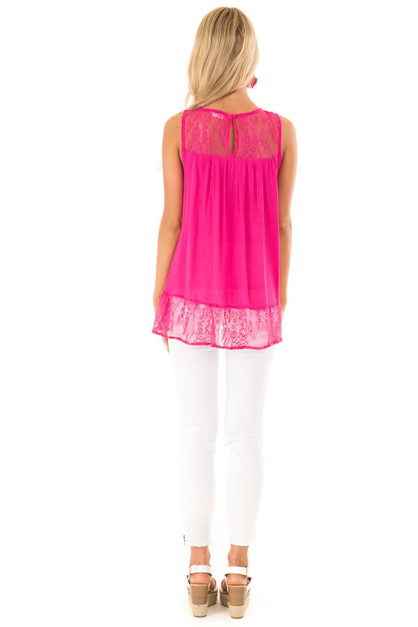 Fuchsia Sleeveless Tank Top with Sheer Lace Details back full body