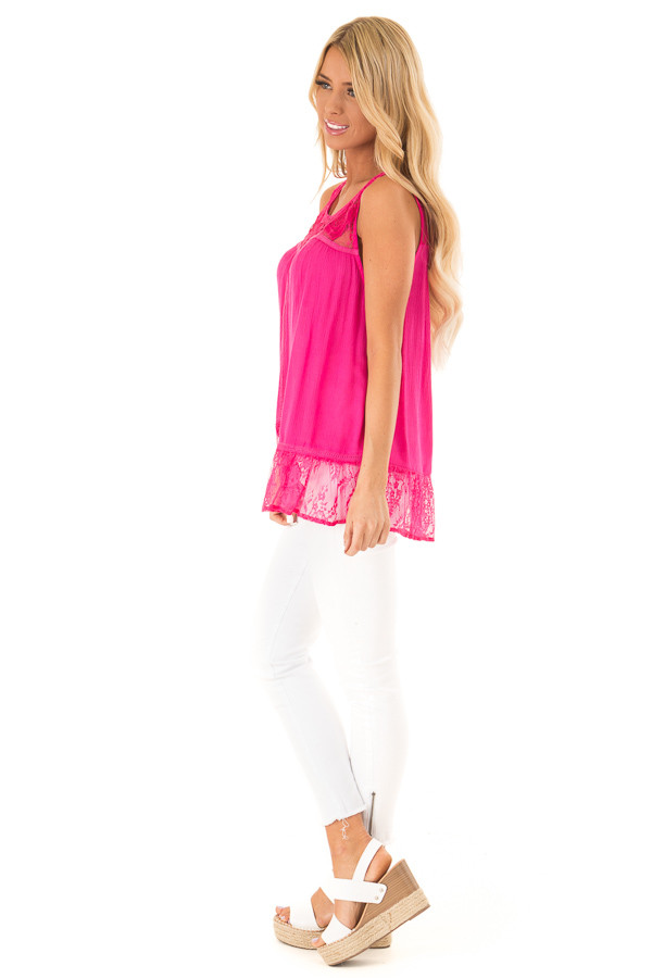 Fuchsia Sleeveless Tank Top with Sheer Lace Details side full body