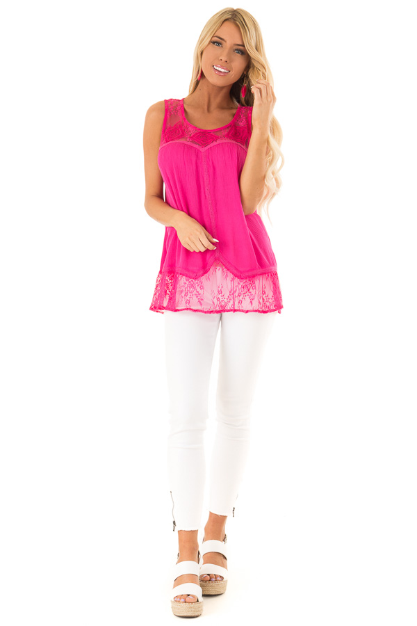 Fuchsia Sleeveless Tank Top with Sheer Lace Details front full body